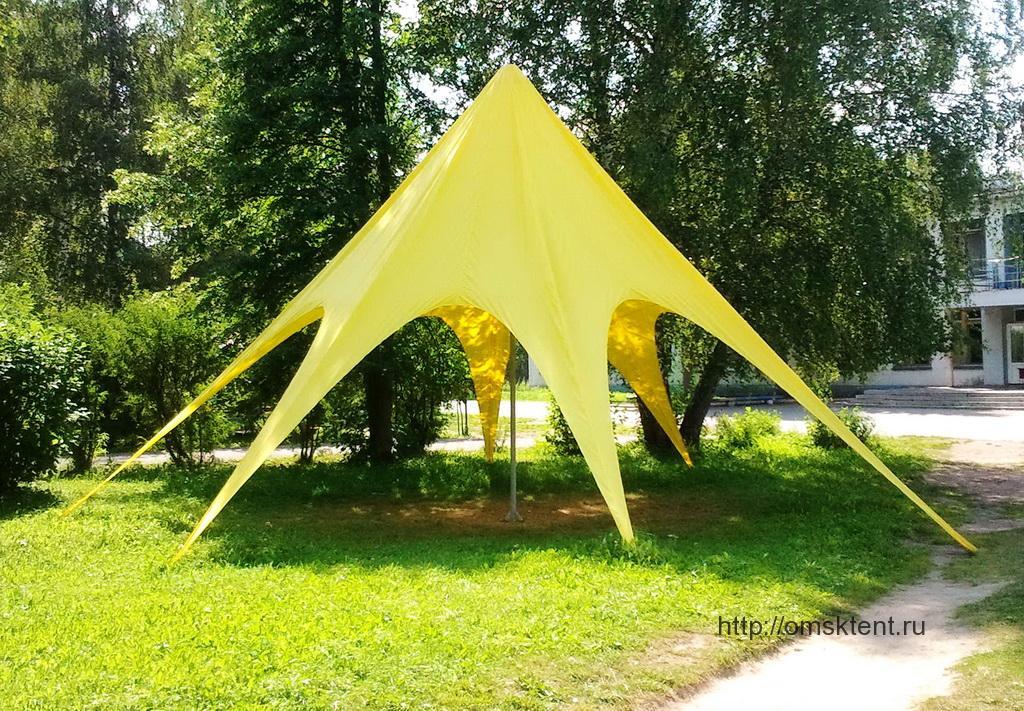 Тент-зонт желтого цвета, Омск